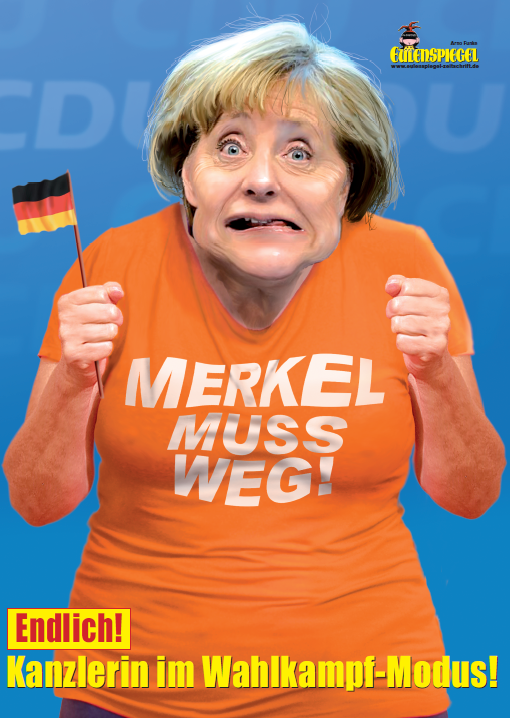 poster merkel wahlkampf eulenspiegel laden der online shop f r satire und humor. Black Bedroom Furniture Sets. Home Design Ideas